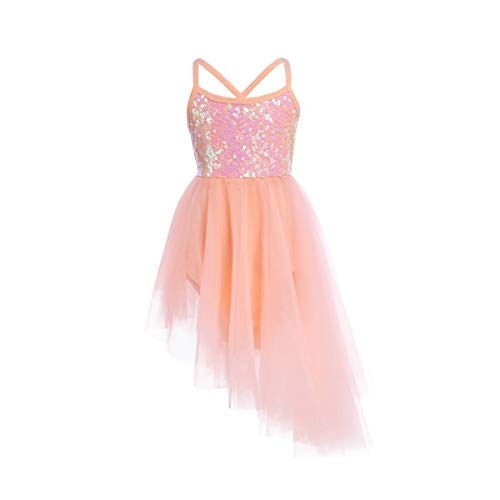 FEESHOW Girls Sequined Camisole Ballet Dress Leotard Chiffon