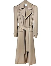 Wool Gabardine Trenchcoat with Puff Sleeve, Camel