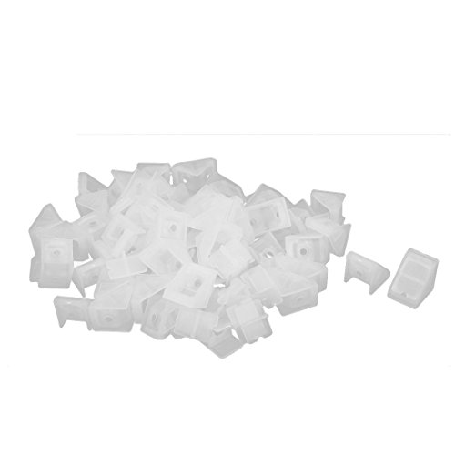 Uxcell a16093000ux0588 Closet Cabinet 20x18x20mm Plastic Angle Corner Bracket Connector White 50pcs (Pack of 50)