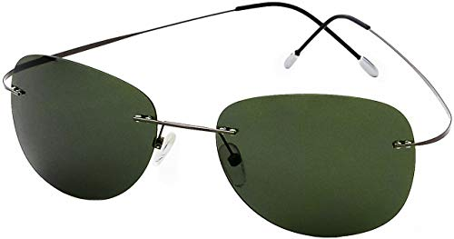 Ultra Light Weight Titanium Rimless Gunmetal Frame with Green Lens, Case Included