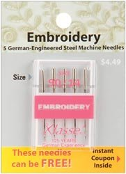 Bulk Buy: Klasse Embroidery Machine Needles 90/14 5/Pkg A5108-9014 (5-Pack) Tacony Corporation