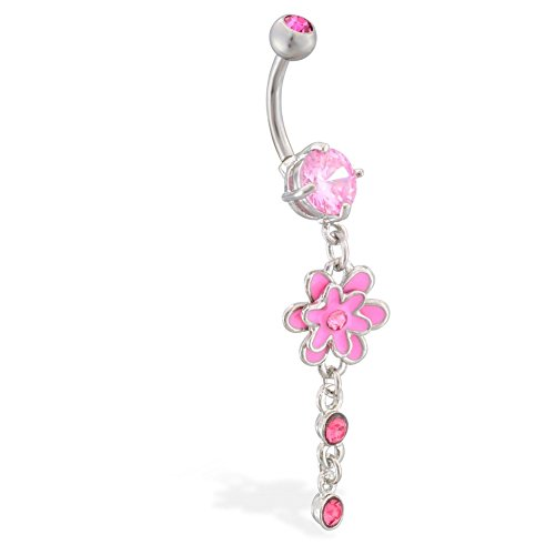 Navel Ring With Jeweled Flower Dangle, Pink