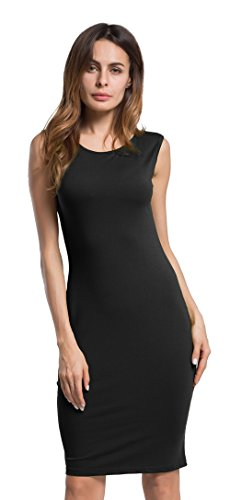 POZON Women Sleeveless Wear to Work Pencil Dress Black L
