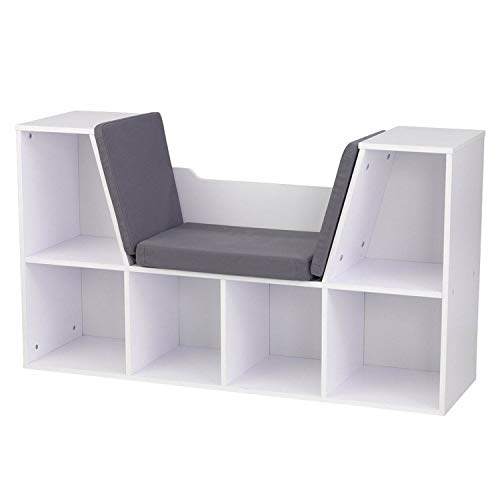 KidKraft 6 Cubby Bookcase with Reading Nook in White