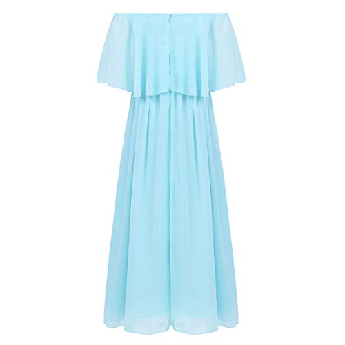 de420a76f80 ... Junior Bridesmaid Dress Big Girls Formal Flower Chiffon Off-Shoulder  Maxi Dress Wedding Party Dance Ball Gown Sky Blue 10.   