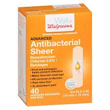 (Walgreens Antibacterial Sheer Adhesive Bandages 3/4