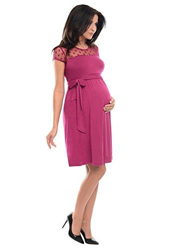 Abito Corta A Dark Gravidanza Manica Di Pink line Pizzo Purpless Con Maternity D004 WCxBerdQoE
