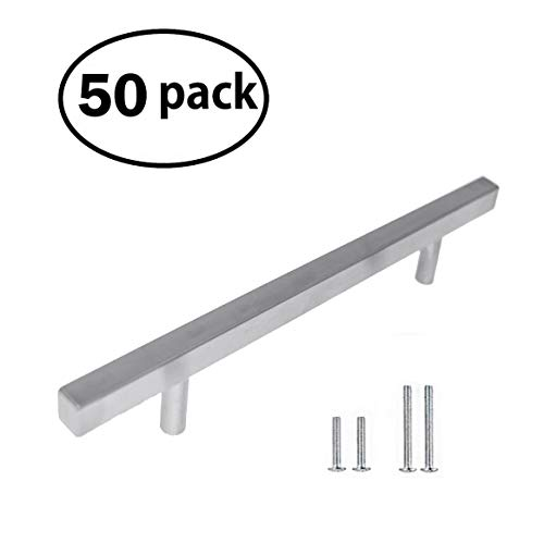 (Stainless Steel Square Pull Handle | Kitchen or Bathroom Cabinet Euro Bar | Brushed Nickel Drawer Pulls for Dresser Furniture Knobs | Hardware for Cabinets | 8 Inch 50 Pack by Pandora Hardware)