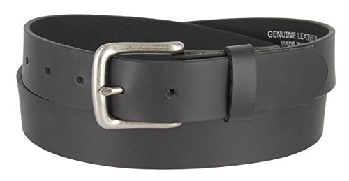 Mens Solid Piece Genuine Leather Casual Dress Belt Made In USA (Black,44) (1.25