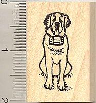 - St. Bernard Dog Rubber Stamp - Wood Mounted