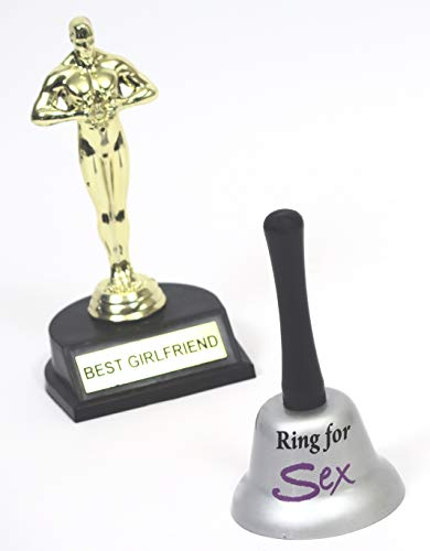 Best Girlfriend Trophy and' Ring Bell for .' hand bell. Every Guy's favorite gift.chocolate every time.