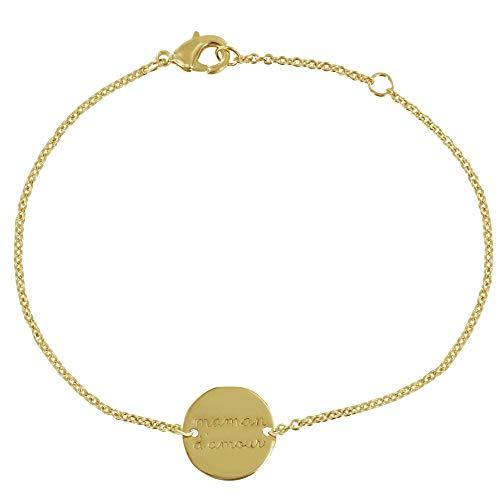 Les Poulettes Jewels - Gold Plated Bracelet Round Medal Maman d'Amour
