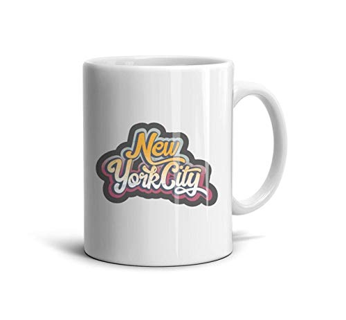 DNSIFH55 White Ceramic Mug New York City Grunge Graffiti Slogan Sticker Simple 11 oz Tea Mugs Used to Hold Latte Cappuccino Tea Coffee Water Drinks Milk for Girls