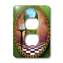 (3dRose LLC lsp_128860_6 Through The Keyholes Alice in Wonderland Art Checkered Floor Bottle of Magic Water 2 Plug Outlet Cover)