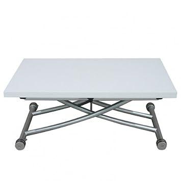 RDM Concept Table Basse Relevable à Plateau U0026 Allonge Dépliable Clever XL    Laqué Blanc Brillant