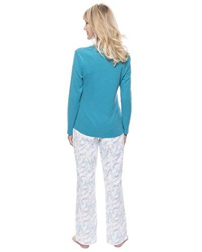 Twin Boat Homewear Conjunto Pijama de Franela de Algódon para Mujer Floral Blanco/Azul