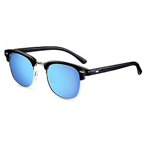 FEIDU Retro Polarized Clubmaster Sunglasses for Men Half Metal Women FD3030(Blue)