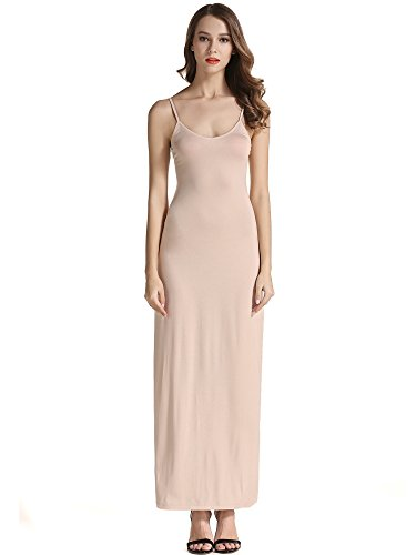 VETIOR Women's Adjustable Spaghetti Straps Long Cami Slip Dress (Medium, ()