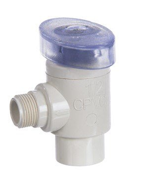 King Brothers Inc. CAV-0500-38C 1/2-Inch Slip by 3/8-Inch Compression PXL CPVC Quarter Turn Angle Supply Valve, -