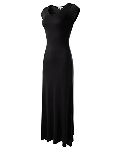NEARKIN (NKWLD04271 Attractive Women Casual Unbane Figure Hugging Maxi Dress Black X-Small(Tag Size S)