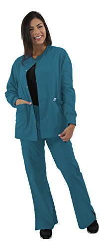 Spectrum Scrub Jackets Doctor Coat/Warm Up/Crew Neck/Nursing Jacket and Uniforms with 2 Lower Pocket and 1 Tablet Pocket for Convinient Storage - 2X Scrub Jacket - Unisex - Caribbean (Nursing Uniform Jacket)