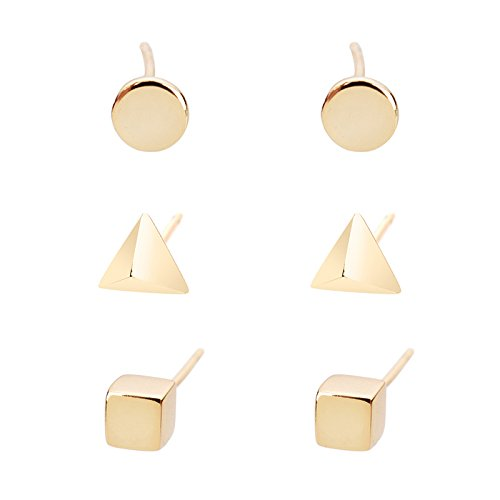 Lureme Brass 3 Pairs Stud Earrings Set for Women Girls Cube Pyramid Circle(Square Triangular Round)(02004563) (Gold Tone)