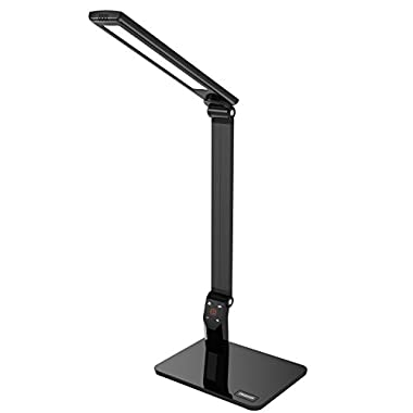 Omaker Dimmable Led Desk Lamp 5 Level Dimmer and Cold/Warm Lighting Mode, with Touch Sensitive Control Panel, Foldable Design and Usb Charging Port