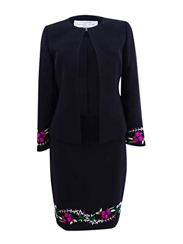 Tahari by Arthur S. Levine Women's Petite Collarless Open Embroidered Jacket and Skirt Suit, Black/Fuchsia, 10P