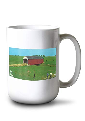 Lantern Press Rockville, Indiana - View of The CATLIN Bridge at Parke County Golf Course (15oz White Ceramic Mug)