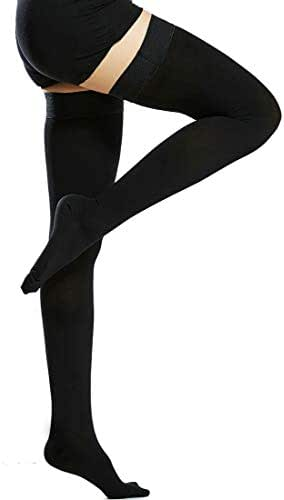 Beister Medical Closed Toe Thigh High Compression Stockings with Silicone Band for Women & Men, Firm 20-30 mmHg Graduated Support for Varicose Veins, Edema, Flight, Black, Medium