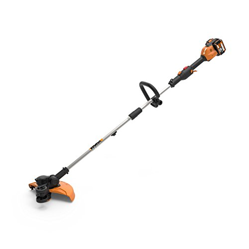 "Worx WG184 40V (2.0Ah) 13"" Cordless Grass Trimmer/Edger with in-Line Edging, and Command Feed, 1 hr. Dual Charger, 2 Batteries"