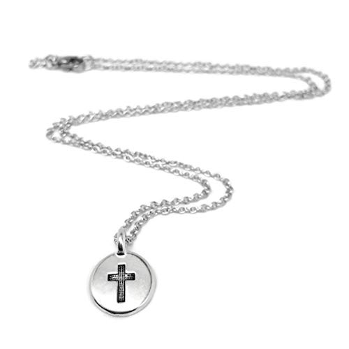 Tiny Round Silver Cross Charm Necklace (24 Inches)