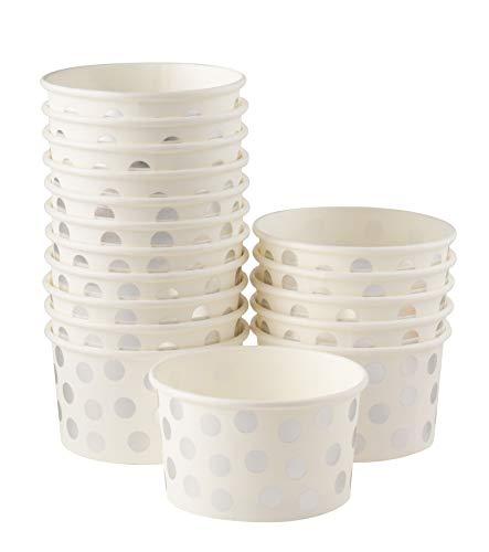 Ice Cream Sundae Cups - 50-Piece Disposable Paper Dessert Ice Cream Yogurt Bowls Party Supplies, Silver Foil Polka Dots Design, 8-Ounce, White (Dots Foil)