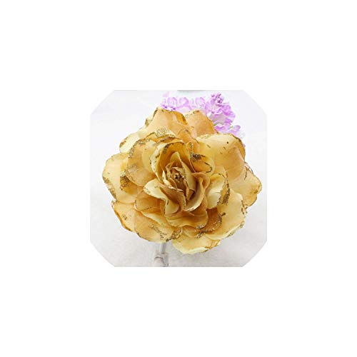 (15Cm Silver Romantic Glitter Rose Headdress Corsage Hairband Wrist Flower Brooch Clip Party Wedding Prom,G)