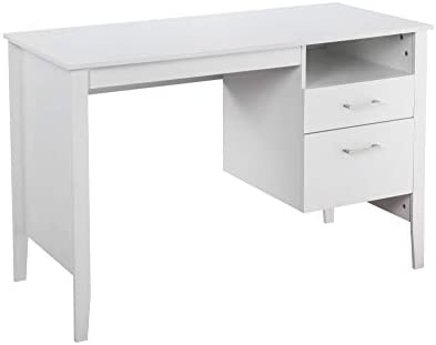 Writing Study Table, Merax Office Computer Desk Wooden Table with MDF Material with 2 Side Drawers Classic Home Office Laptop Desk White