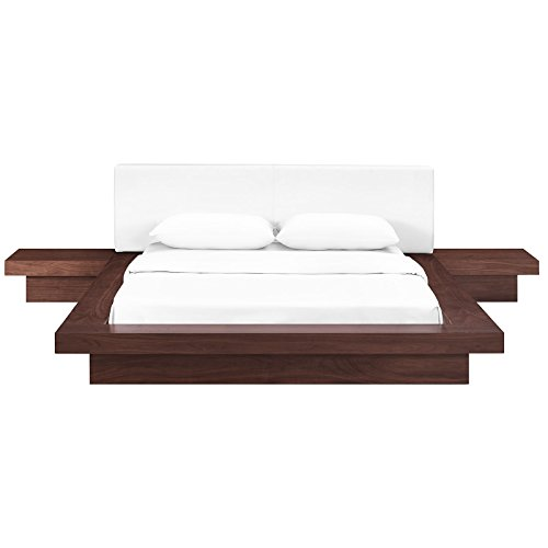 Modway Freja Upholstered Walnut White Faux Leather Modern Platform Bed with Wood Slat Support and Two Nightstands in Queen
