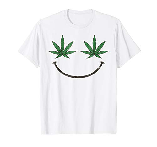 Smiling Weed Eyes Emojis Shirt Stoner Costume Christmas Gift -