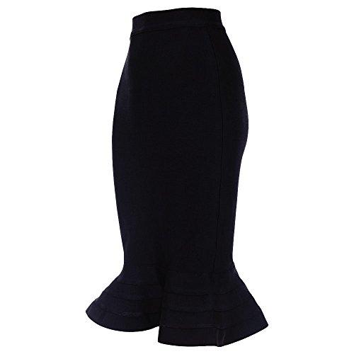 HLBandage Fishtail Knee Length High Waist Fluted Hem Bandage Wrap Skirts Negro