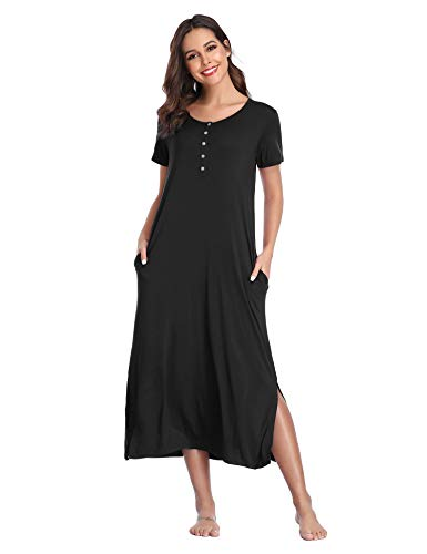 Lusofie Long Nightgowns Womens Henley Nightshirts Short Sleeve Sleepwear (Black, S)