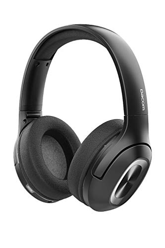 DACOM HF002 Wireless Bluetooth 5.0 Headphones with Hi-Fi Deep Bass, Over Ear Bluetooth Headphones use CSR+TI chip with Soft Protein earpads and CVC 6.0 MIC, 65 hrs palying time for PC Games or Phone