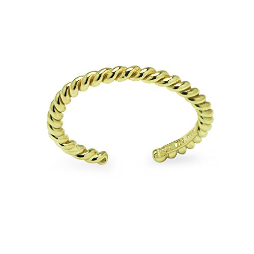 Yellow Gold Flashed Sterling Silver Twist Rope Ring Toe Ring Adjustable
