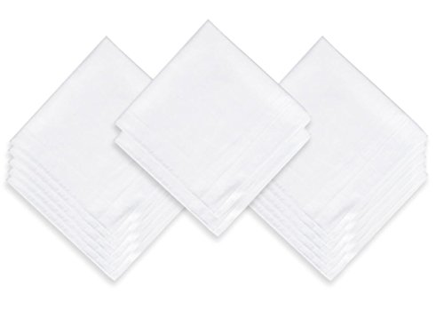 EcoHanky 100% Cotton Men's Handkerchiefs with Hem White 12 Pieces by EcoHanky (Image #5)