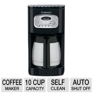 Cuisinart 10 Cup Thermal Programmable Coffeemaker with 1- to 4-Cup Setting, Brew Pause Function, and 60-Second Reset, Self Clean Functionality, Double-Wall Insulated Thermal Carafe Included