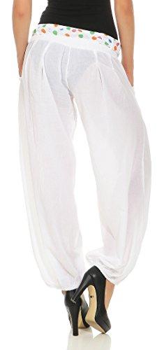Pantaloni Unica Yoga Pantaloni classico Baggy 3417 Pump Pantaloni Harem zuava Taglia Boyfriend Aladin alla Donna Design Bianco Sbuffo malito gTqxw4vpT