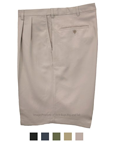 Haggar Big & Tall Men's Pleated Casual Shorts Expandable Waist Light Khaki Size 48#898C by Haggar