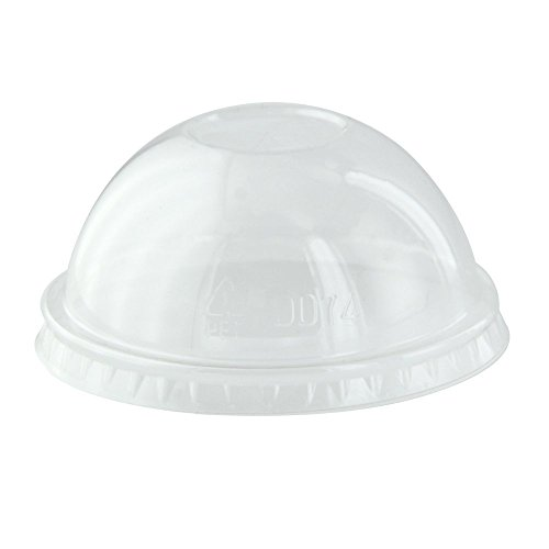 Clear Dome Lid for Soup Cups 210POB90 (Case of 50), PacknWood - Transparent Plastic Disposable Lids for Portion Cup (Diameter 3.5