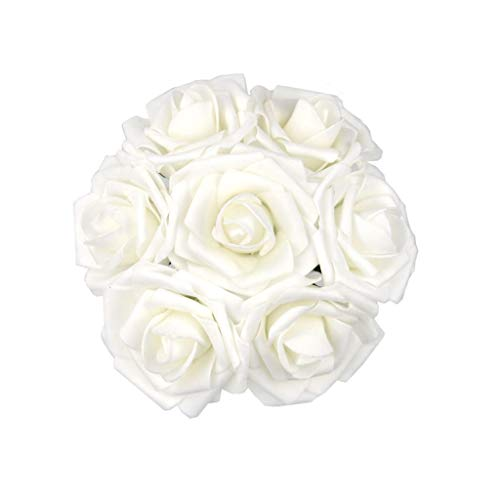 DerBlue 60pcs Artificial Roses Flowers Real Looking Fake Roses Artificial Foam Roses Decoration DIY for Wedding Bouquets Centerpieces,Arrangements Party Baby Shower Home Decorations (White)