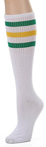 Eleven Costume (Leotruny Over the Calf Tube Socks, (White/Green/Yellow), One Size)