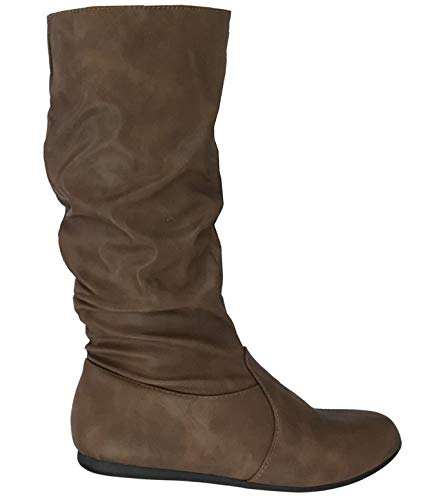 Wells Collection Womens Wonda Boots Soft Slouchy Flat to Low Heel Under Knee High, Tan PU, 7