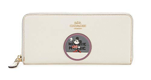 COACH Women's Boxed Minnie Mouse Slim Accordion Zip Wallet With Patches Disney x COACH Li/Chalk One Size